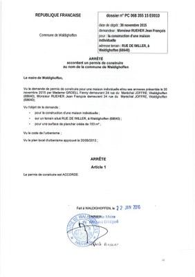 D cision la demande de construire de m rueher et mlle for Certificat d urbanisme permis de construire