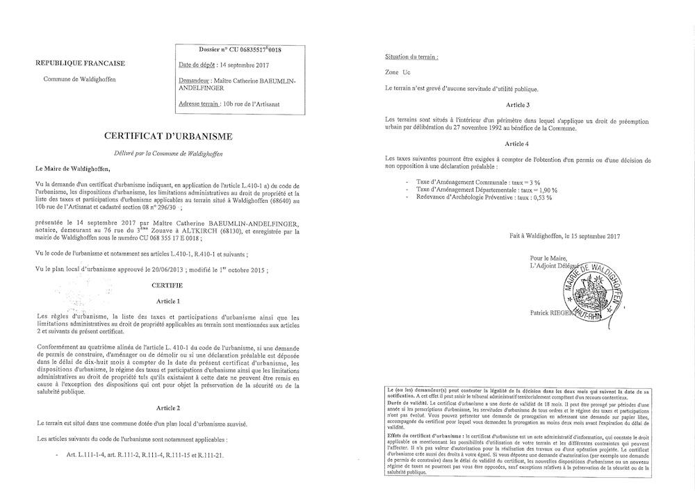 Certificat d'urbanisme délivré à Maître BAEUMLIN-ANDELFINGER