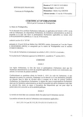 Certificat d'urbanisme établi pour Maître Guy GREWIS