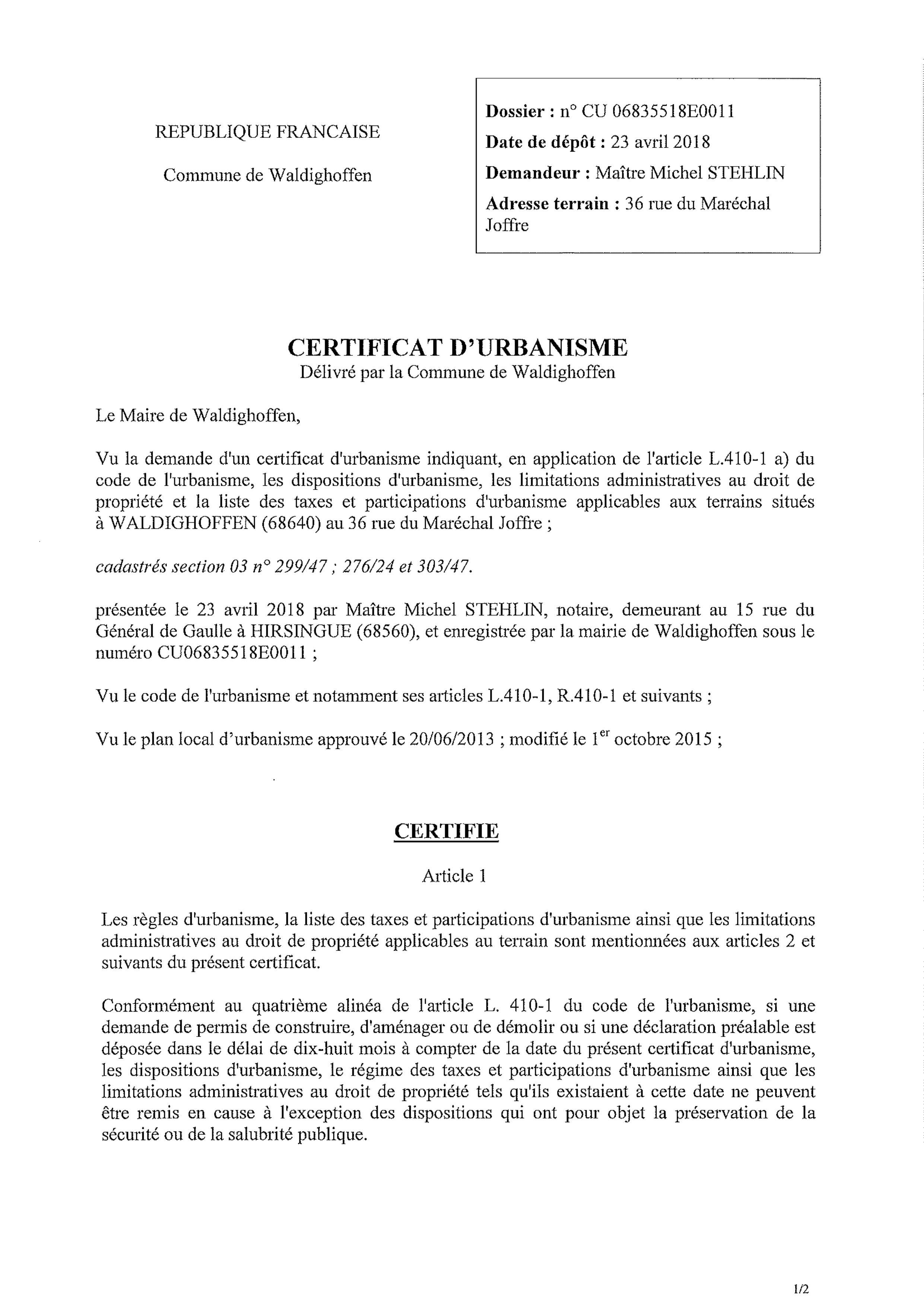 Certificat d'urbanisme établi pour Maître Michel STEHLIN