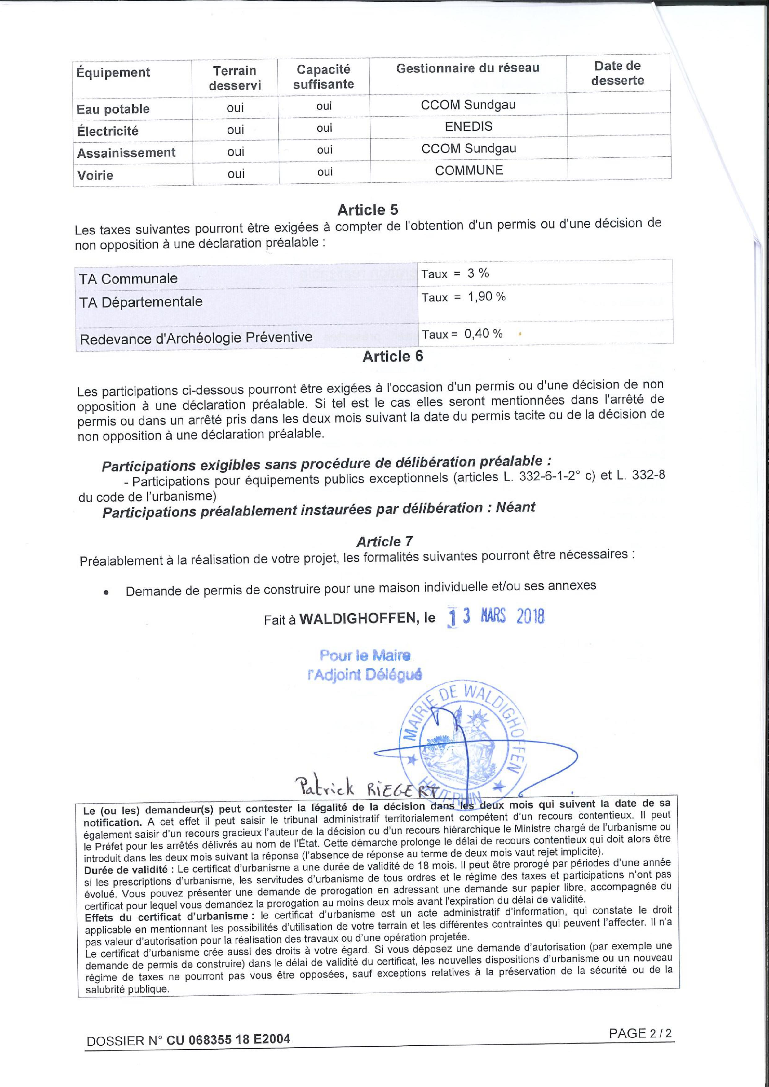 Certificat D Urbanisme Operationnel Etabli Pour Maitre Catherine