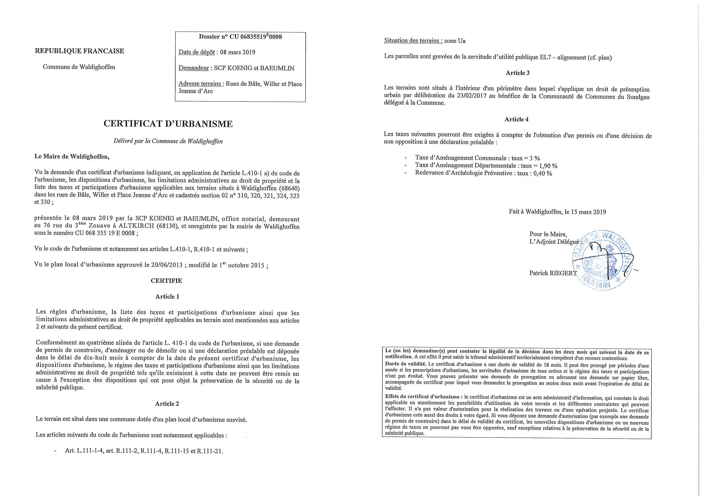Certificat d'urbanisme établi pour la Scp Koenig et Baeumlin, office notarial