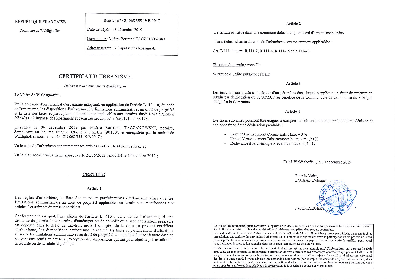 Certificat d'urbanisme établi pour Maître Bertrand Taczanowski