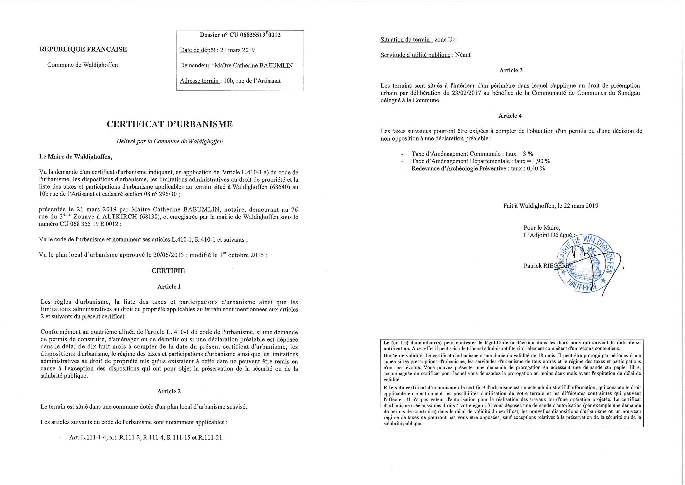 Certificats d'urbanisme établi pour Maître Catherine ANDELFINGER