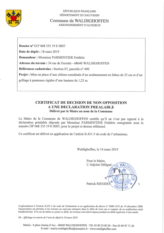 Décision à la demande d'autorisation de M. Parmentier Frédéric