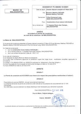 Décision à la demande de construire de M. et Mme Fischer Mathieu