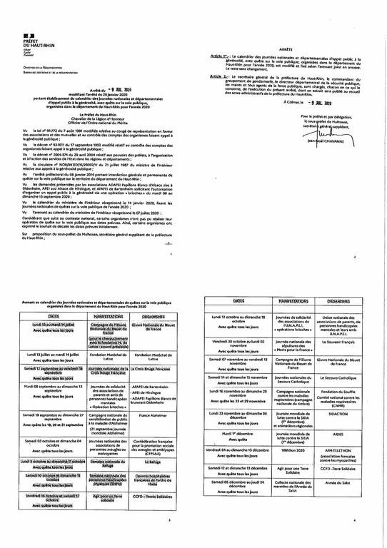 Arrêté préfectoral du 09 juillet 2020   générosité et quête sur la