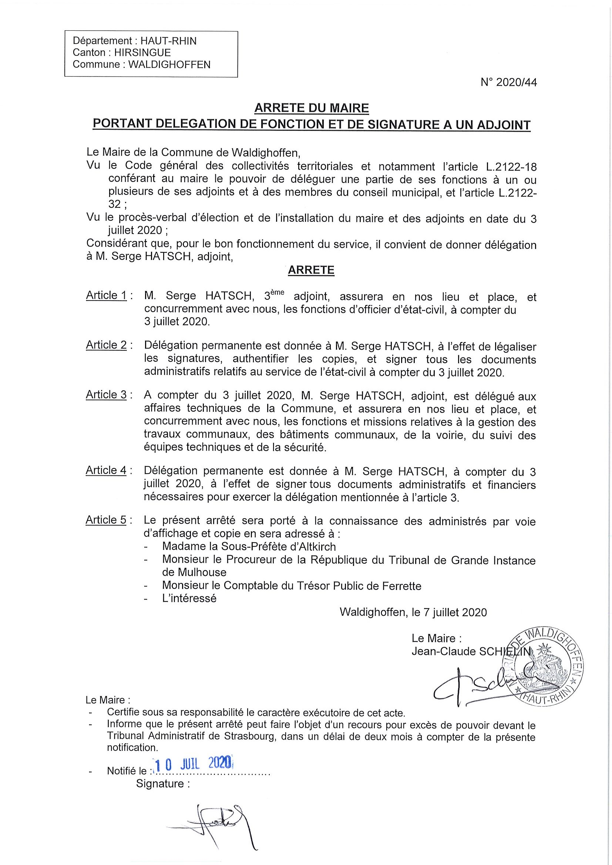 Arrêté du Maire : délégation pour M. HATSCH Serge