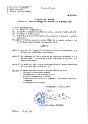 Arrêté du Maire interdisant la tenue des marchés sur la Commune de Waldighoffen