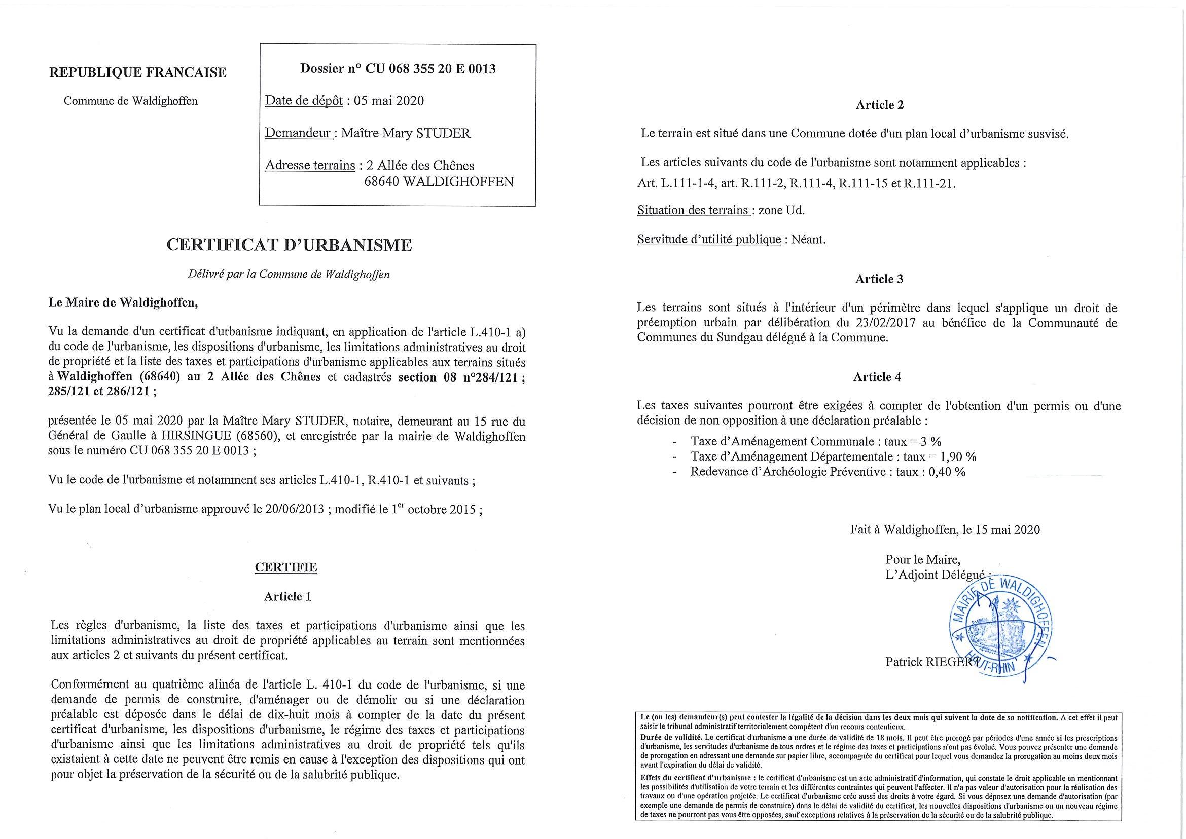 Certificat d'urbanisme établi pour Maître STUDER Mary