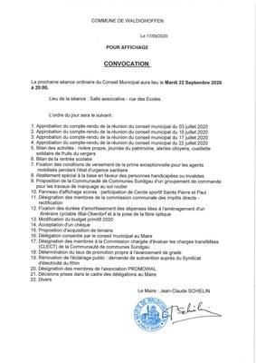 Convoc Waldi 22 septembre 2020