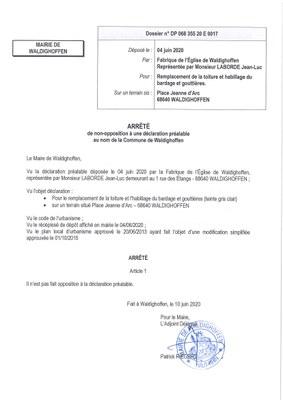 Décision à la demande d'autorisation de la Fabrique de l'Eglise de Waldighoffen