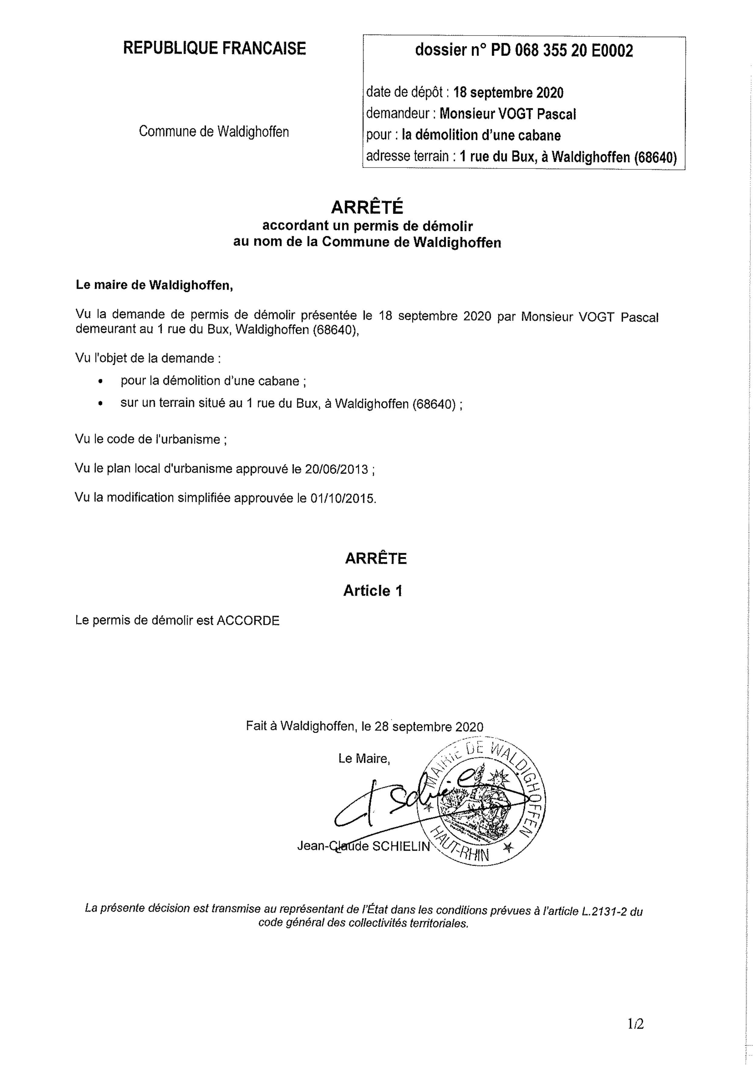Décision à la demande de permis de démolir de M. Vogt Pascal