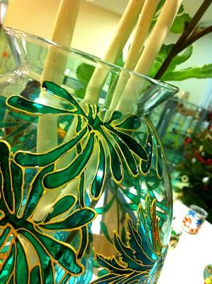 Effet vitrail sur vase