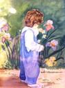 Enfant au jardin-aquarelle