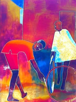Tableau-vitrail de Caroline Ferrara