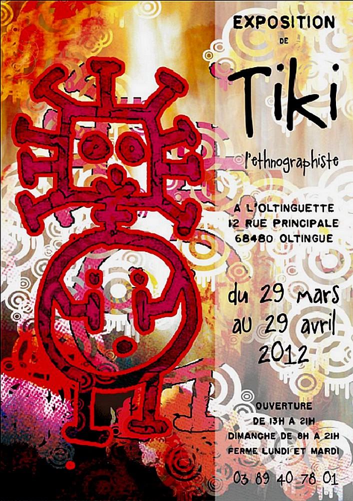 Affiche exposition Tiki (Elise Beltz) à l'Oltinguette