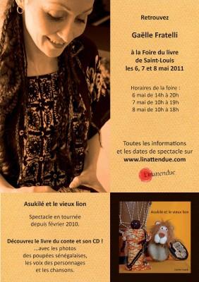 Affiche de la présence de Gaëlle Fratelli à la Foire du Livre 2011 de Saint Louis