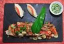 Ardoise d'émincé de carpes chez Collin à Ferrette- «Sundgau routes de la carpe frite» organise jusqu'au 22 avril 2012 une grande animation autour de la carpe, le poisson emblématique du Sundgau. Photos JP Girard