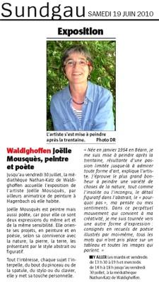 L'article de l'Alsace sur l'expo de Joëlle Mousquès à la Médiathèque