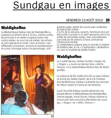 Article de l'Alsace du 13 août 2010 sur la médiathèque de Waldighoffen