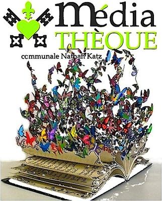 Logo médiathèque livre papillons