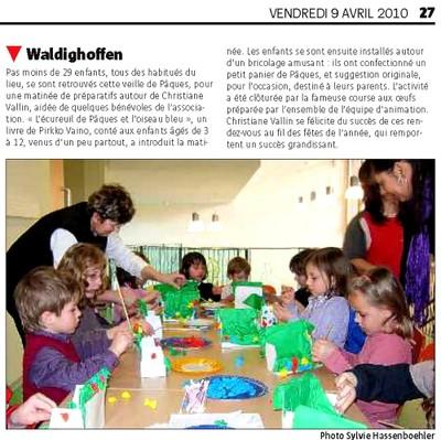 Article dans le journal l'Alsace du 9 avril 2010 pour la médiathèque de Waldighoffen