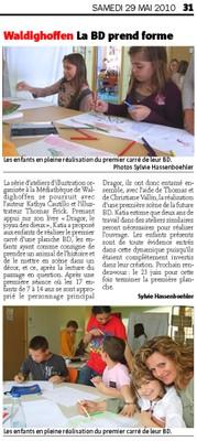 Article du journal l'Alsace du samedi 29 mai 2010 : la BD prend forme