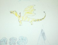 Jonathan a dessiné un dragon volant jaune !