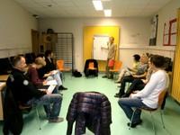 Roland Scheidel et ses élèves du cours d'allemand à la médiathèque