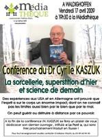 Affiche de la conférence de Cyrille Kaszuk, le 17 avril 2009