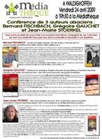 Affiche de la conférence, le 24 avril 2009, de 3 auteurs alsaciens