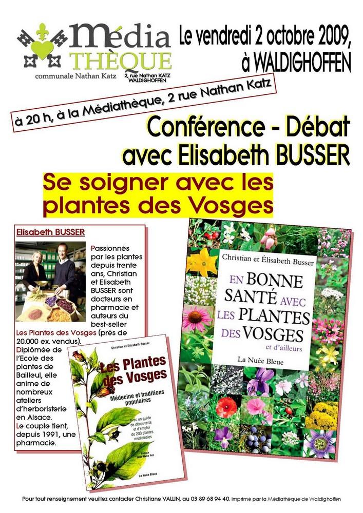 Affiche de la conférence, le 2 octobre 2009, d'Elisabeth BUSSER