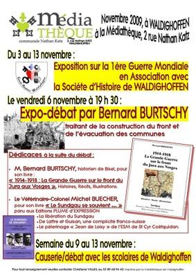 Affiche expo-débat avec Bernard BURTSCHY