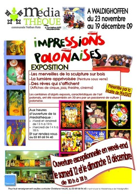 """Affiche de l'expo """"Impressions polonaises""""; vernissage le 27 novembre 2009"""