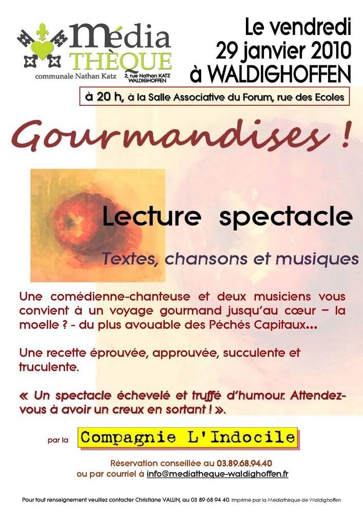 Affiche Gourmandises le 29 janvier 2010