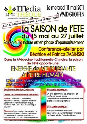 Affiche présentant la conférence de Patrice et Béatrice JASINSKI le 11 mai 2011 à la médiathèque de Waldighoffen
