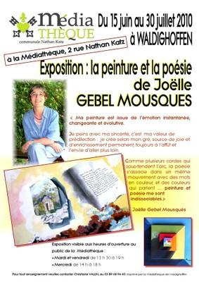 Affiche Expo Joëlle Gebel Mousquès à la médiathèque de Waldighoffen