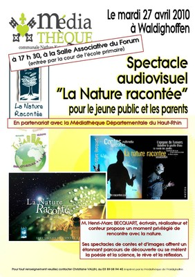 "Affiche spectacle ""La nature racontée"" du 27 04 10"