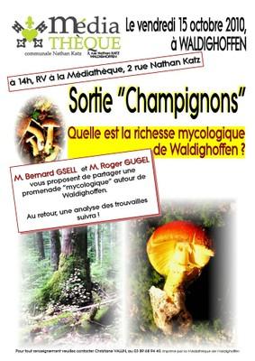Affiche pour la sortie mycologique du 15 octobre 2010
