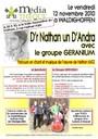 Affiche soirée Géranium à la Médiathèque le 12 novembre 2010