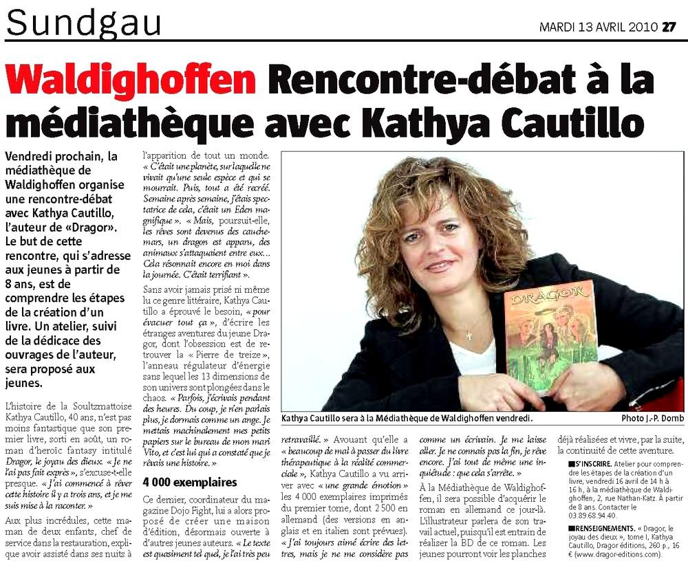 Kathya CAUTILLO à la médiathèque, dans l'Alsace le 13 04 10