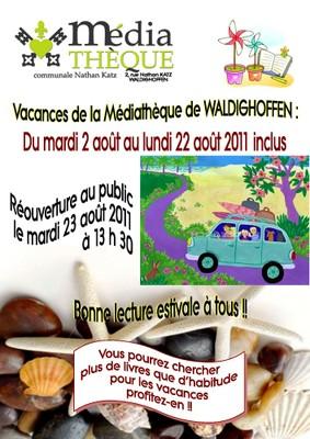 Affiche pour les vacances d'été 2011 de la médiathèque de Waldighoffen