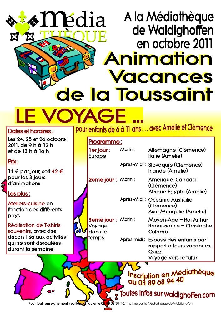 Affiche animations Vacances de la Toussaint 2011