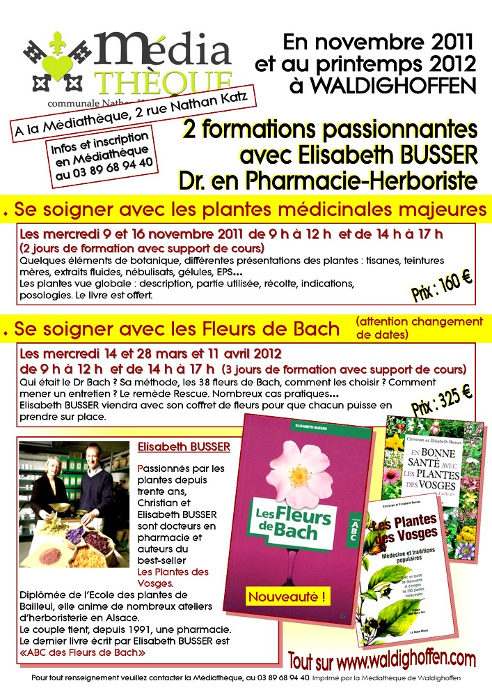 Affiche Elisabeth BUSSER automne 2011-printemps 2012 à la Médiathèque de Waldighoffen