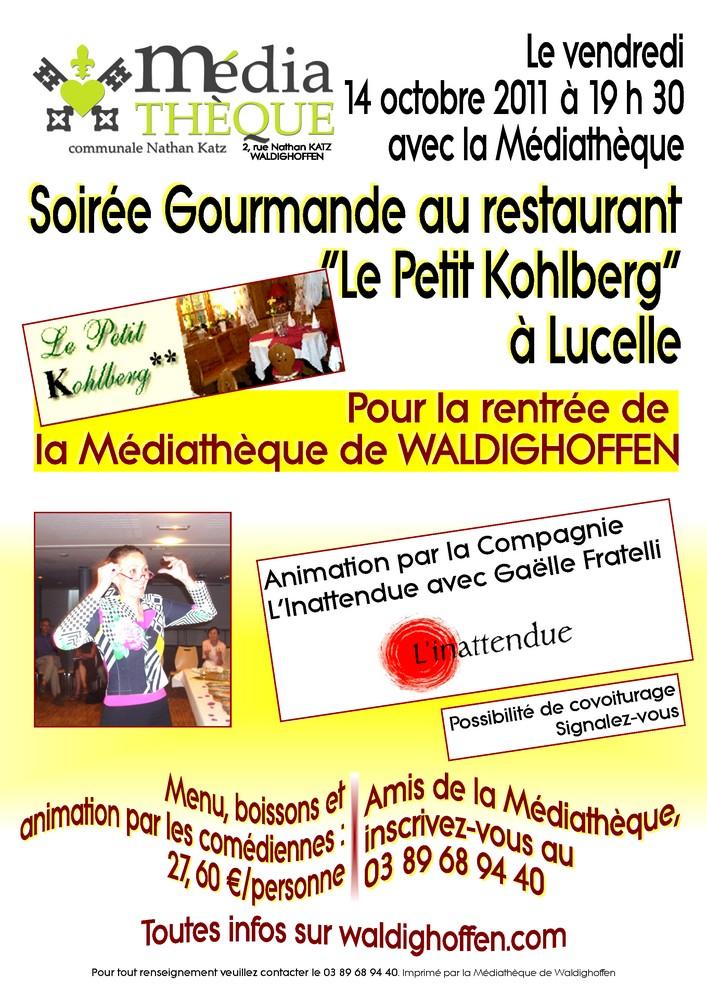 Affiche Médiathèque soirée Petit Kohlberg 14 oct 2011