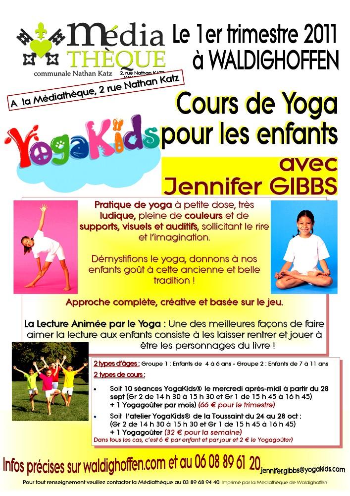 Affiche pour le Yoga enfants avec Jennifer Gibbs