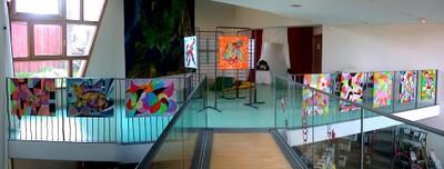 L'Expo de Christiane Demuth en train de s'installer à la médiathèque de Waldighoffen