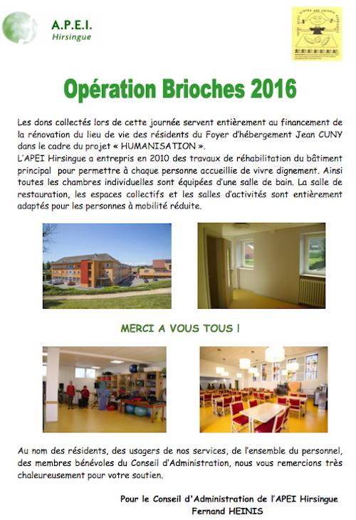 remerciement Opération Brioche 2016