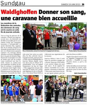 Article L'Alsace Caravane du Sang 2010